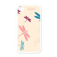 Pastel Dragonflies  Apple Iphone 4 Case (white) by Valentinaart