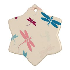 Pastel Dragonflies  Snowflake Ornament (2 Side) by Valentinaart