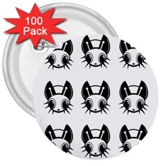 Black And White Fireflies Patten 3  Buttons (100 Pack)  by Valentinaart