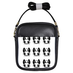 Black And White Fireflies Patten Girls Sling Bags by Valentinaart