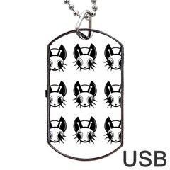 Black And White Fireflies Patten Dog Tag Usb Flash (two Sides)  by Valentinaart