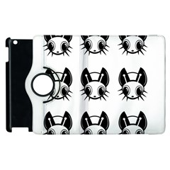 Black And White Fireflies Patten Apple Ipad 3/4 Flip 360 Case by Valentinaart