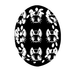 White And Black Fireflies  Oval Filigree Ornament (2 Side)  by Valentinaart