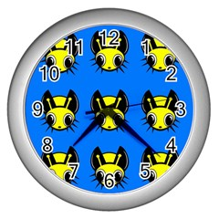 Yellow And Blue Firefies Wall Clocks (silver)  by Valentinaart