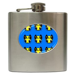 Yellow And Blue Firefies Hip Flask (6 Oz) by Valentinaart
