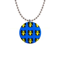 Yellow And Blue Firefies Button Necklaces by Valentinaart