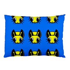 Yellow And Blue Firefies Pillow Case by Valentinaart