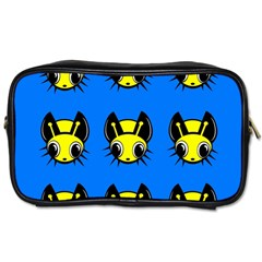 Yellow And Blue Firefies Toiletries Bags by Valentinaart