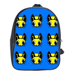 Yellow And Blue Firefies School Bags (xl)  by Valentinaart