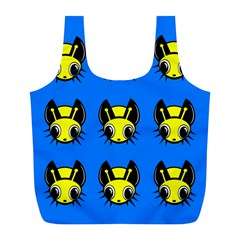 Yellow And Blue Firefies Full Print Recycle Bags (l)  by Valentinaart