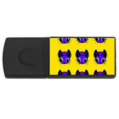 Blue And Yellow Fireflies Usb Flash Drive Rectangular (4 Gb)  by Valentinaart