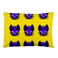 Blue And Yellow Fireflies Pillow Case by Valentinaart