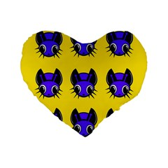 Blue And Yellow Fireflies Standard 16  Premium Flano Heart Shape Cushions by Valentinaart