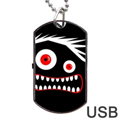 Crazy Monster Dog Tag Usb Flash (two Sides)  by Valentinaart
