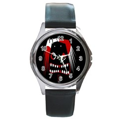 Zombie Face Round Metal Watch by Valentinaart