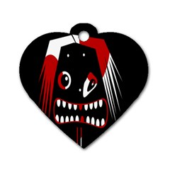 Zombie Face Dog Tag Heart (one Side) by Valentinaart