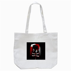 Zombie Face Tote Bag (white) by Valentinaart