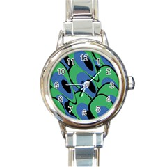 Peacock Pattern Round Italian Charm Watch by Valentinaart