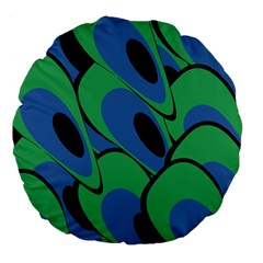 Peacock Pattern Large 18  Premium Flano Round Cushions by Valentinaart