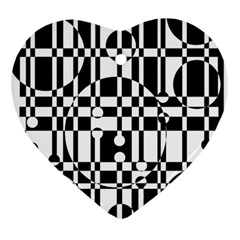 Black And White Pattern Ornament (heart)  by Valentinaart
