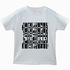 Black And White Pattern Kids White T Shirts by Valentinaart