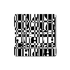 Black And White Pattern Square Magnet by Valentinaart