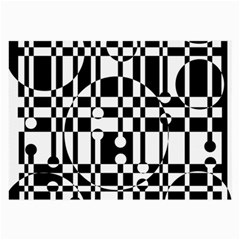 Black And White Pattern Large Glasses Cloth (2 Side) by Valentinaart