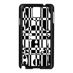 Black And White Pattern Samsung Galaxy Note 3 N9005 Case (black) by Valentinaart