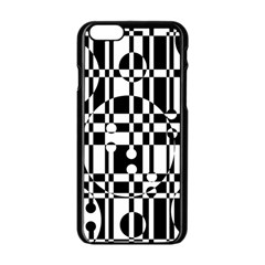 Black And White Pattern Apple Iphone 6/6s Black Enamel Case by Valentinaart