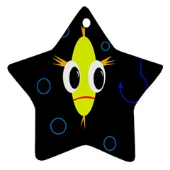 Yellow Fish Star Ornament (two Sides)  by Valentinaart