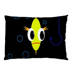 Yellow Fish Pillow Case (two Sides) by Valentinaart