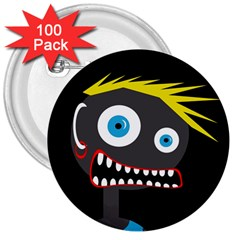 Crazy Man 3  Buttons (100 Pack)  by Valentinaart