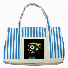 Crazy Man Striped Blue Tote Bag by Valentinaart