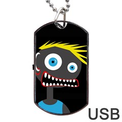Crazy Man Dog Tag Usb Flash (two Sides)  by Valentinaart