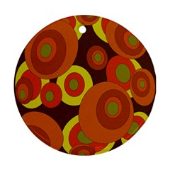 Orange Pattern Ornament (round)  by Valentinaart