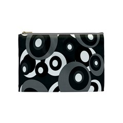Gray Pattern Cosmetic Bag (medium)  by Valentinaart