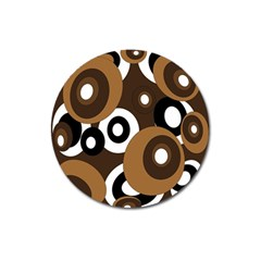 Brown Pattern Magnet 3  (round) by Valentinaart