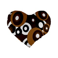 Brown Pattern Standard 16  Premium Flano Heart Shape Cushions by Valentinaart