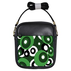Green Pattern Girls Sling Bags by Valentinaart