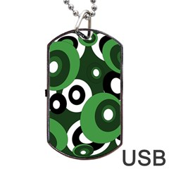 Green Pattern Dog Tag Usb Flash (two Sides)  by Valentinaart