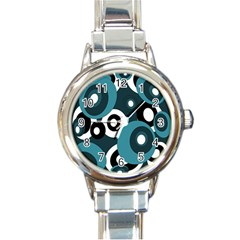 Blue Pattern Round Italian Charm Watch by Valentinaart