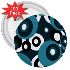 Blue Pattern 3  Buttons (100 Pack)  by Valentinaart