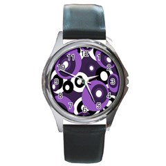 Purple Pattern Round Metal Watch by Valentinaart