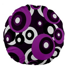 Purple Pattern Large 18  Premium Flano Round Cushions by Valentinaart