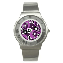 Purple Pattern Stainless Steel Watch by Valentinaart