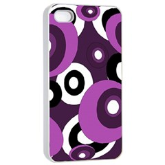 Purple Pattern Apple Iphone 4/4s Seamless Case (white) by Valentinaart