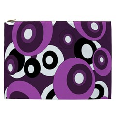 Purple Pattern Cosmetic Bag (xxl)  by Valentinaart