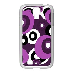 Purple Pattern Samsung Galaxy S4 I9500/ I9505 Case (white) by Valentinaart