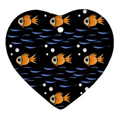 Fish Pattern Ornament (heart)  by Valentinaart