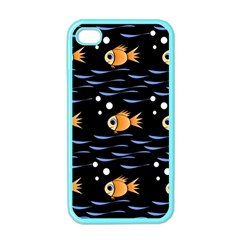 Fish Pattern Apple Iphone 4 Case (color) by Valentinaart